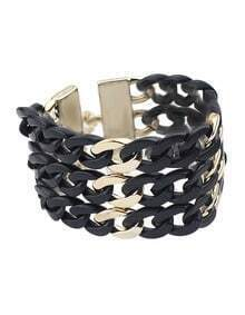 Punk Style Chunky Link Chain Black Bracelet For Women