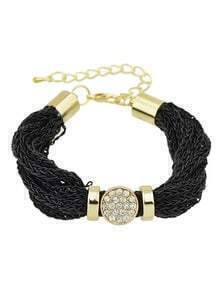 Pretty Women Rhinestone Wide Chain Black Bracelet