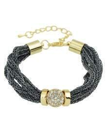 Pretty Women Rhinestone Wide Chain Gray Bracelet