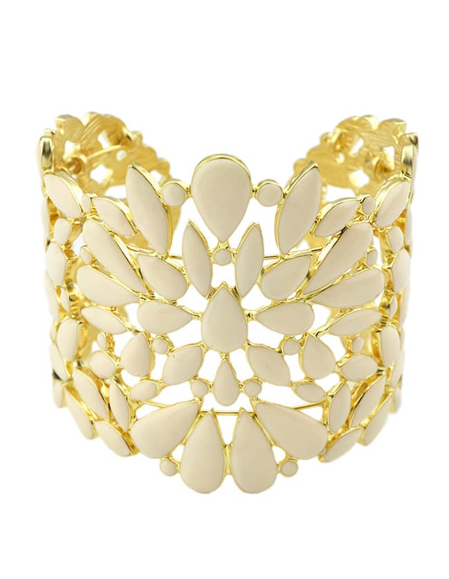 Beige Enamel Wide Cuff Bracelet