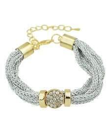Silver Rhinestone Wide Chain Bracelet