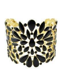 Black Enamel Wide Cuff Bracelet