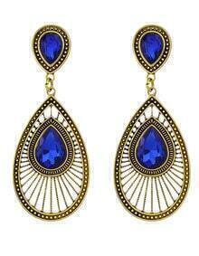 Fashion Oval Rhinestone Women Drop Blue Earrings