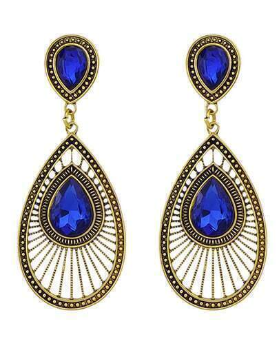 Blue Rhinestone Women Drop Earrings