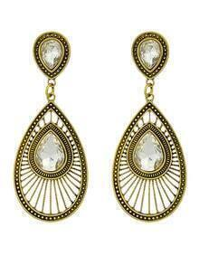 Fashion Oval Rhinestone Women Drop White Earrings