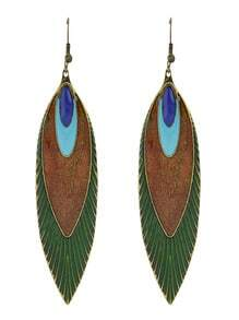 Ethnic Style Green Enamel Unique Patten Long Hanging Earrings