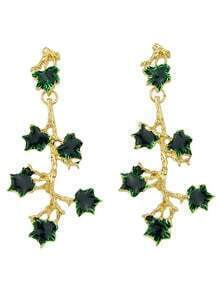 Long Green Rhinestone Flower Shaped Hanging Stud Earrings