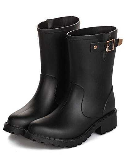 Black Buckle Punk Boots