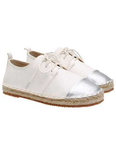 White Espadrille Lace Up PU Flats