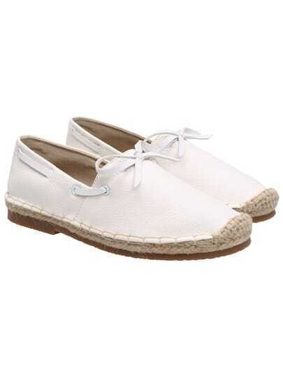 White Espadrille With Bow PU Flats