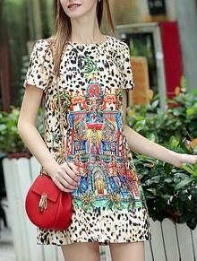 Multicolor Round Neck Short Sleeve Leopard Print Dress