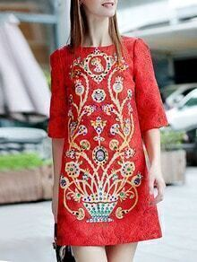 Red Round Neck Half Sleeve Beading Dress