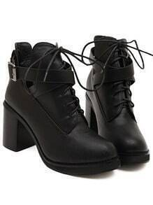 Black Lace-Up Buckle Chunky Boots