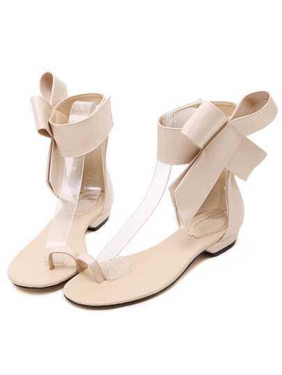 Apricot Bow Flip Flat Sandals