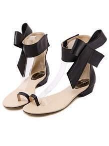 Black Bow Flip Flat Sandals