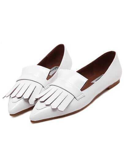 White Pointy Tassel PU Flats