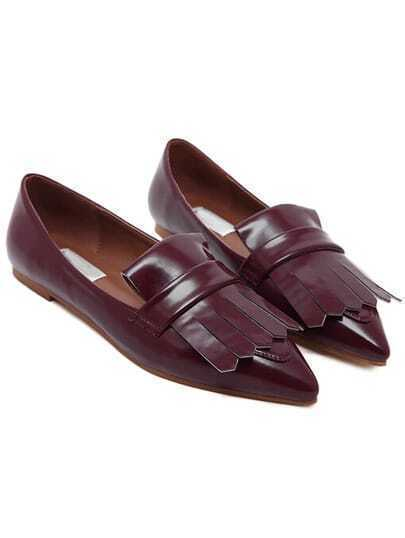 Wine Red Pointy Tassel PU Flats