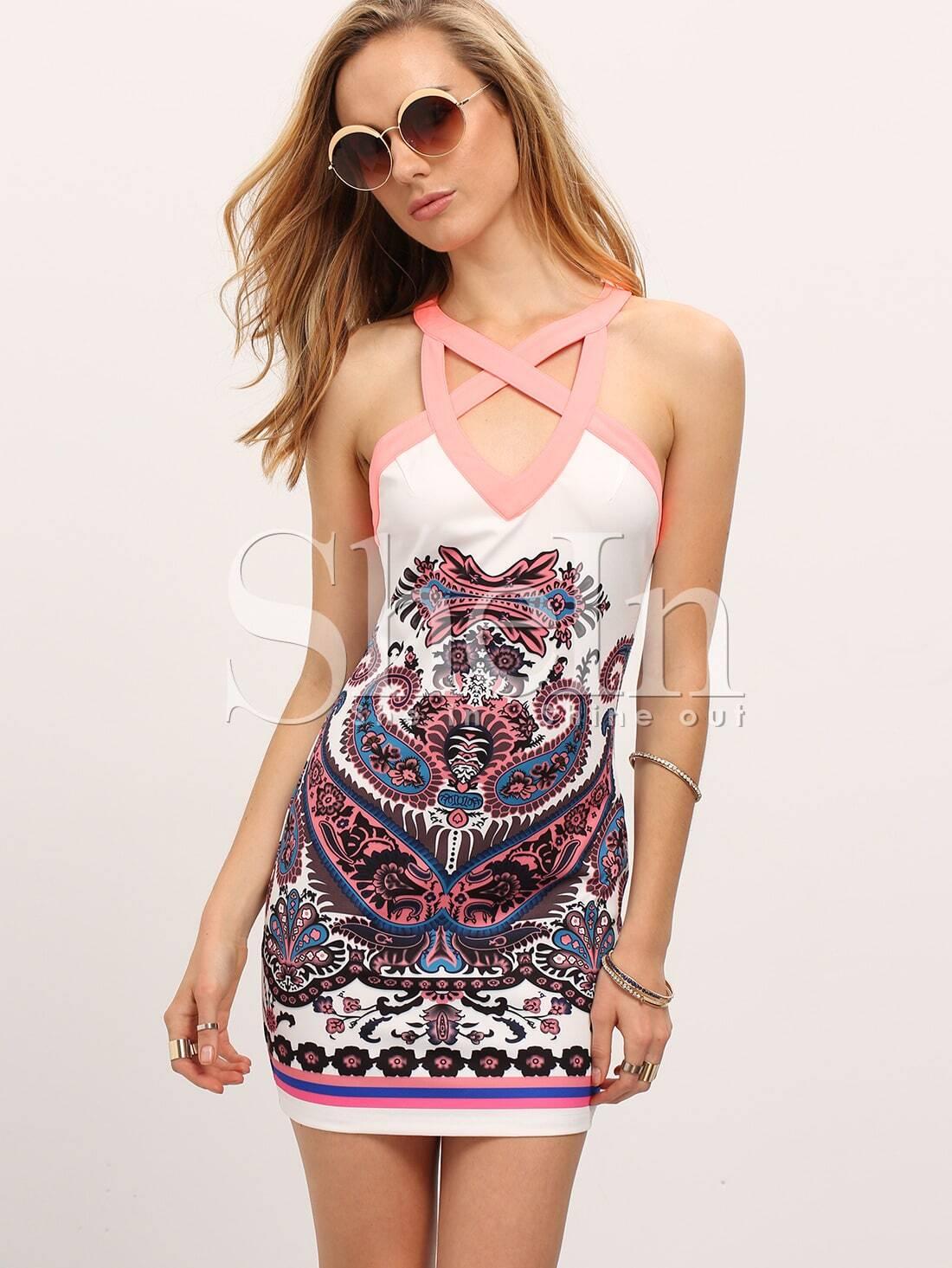 Multicolour Reverse Sleeveless Paisley Print Bodycon Dress -SheIn ...