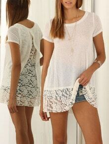 White Short Sleeve With Lace T-Shirt