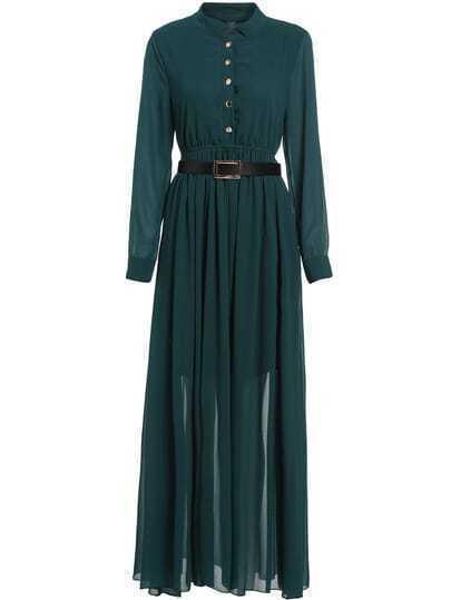 Green Long Sleeve Buttons Chiffon Dress
