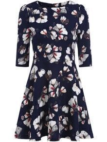 Navy Round Neck Half Sleeve Floral Dress