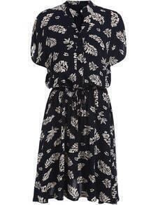 Black V Neck Leaves Print Buttons Dress