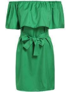 Green Boat Neck Tie-waist Loose Dress