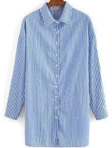 Blue White Lapel Vertical Stripe Loose Blouse