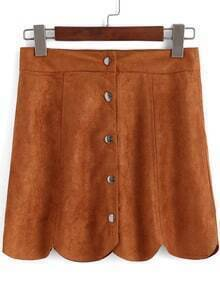 Khaki Buttons Scalloped Mini Skirt