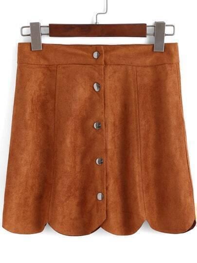 Khaki Buttons Scalloped Mini Skirt
