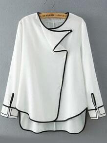 White Round Neck Contrast Trims Dip Hem Blouse