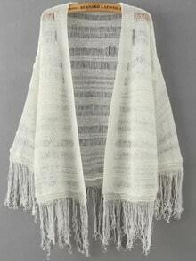White Long Sleeve Hollow Tassel Knit Cardigan
