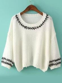 Beige Round Neck Embroidered Batwing Knit Sweater