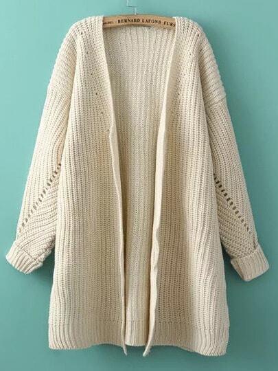 Beige Batwing Long Sleeve Loose Knit Cardigan