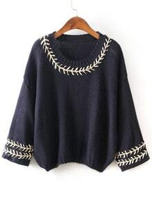 Navy Round Neck Embroidered Batwing Knit Sweater