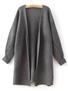 Grey Batwing Long Sleeve Loose Knit Cardigan