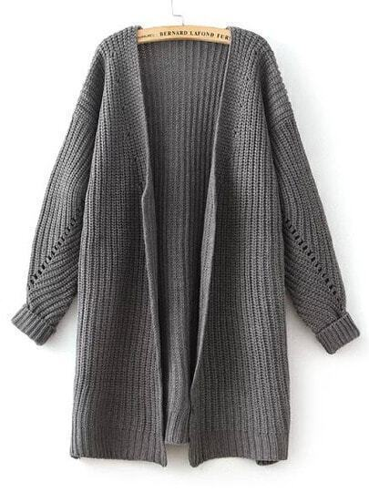 Grey Batwing Long Sleeve Loose Knit Cardigan
