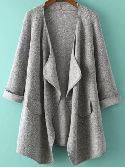 Grey Long Sleeve Loose Cardigan
