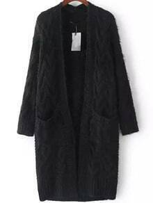 Black Long Sleeve Cable Knit Pockets Cardigan