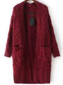 Red Long Sleeve Cable Knit Pockets Cardigan