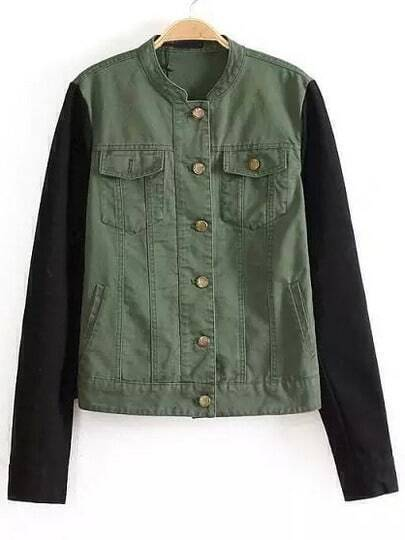 Colour-block Stand Collar Buttons Crop Coat