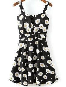 Black Spaghetti Strap Sunflowers Print Dress
