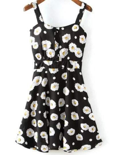 Black Spaghetti Strap Sunflowers Print Dress