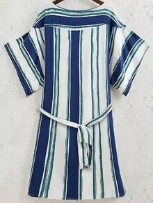 Blue White Round Neck Vertical Stripe Dress