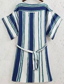 Blue White Round Neck Vertical Stripe Dress