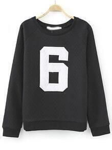Black Round Neck 6 Print Loose Sweatshirt