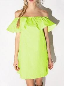 Neon Green Off the Shoulder Ruffle Dress