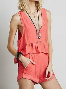 Red V Neck Sleeveless Ruffle Top With Shorts