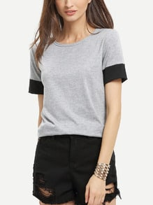 Grey Round Neck Short Sleeve Loose T-Shirt