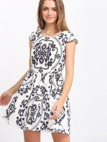 White Cap Sleeve Antique Vintage Print Dress